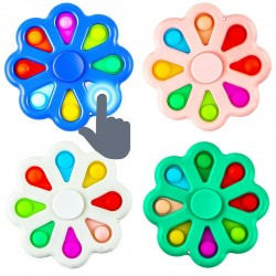 Jucarie antistres tip spinner cu POP IT,  floare cu 8 bule din silicon, 9x9 cm
