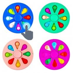 Spinner POP IT multicolor, jucarie cu bule antistres, diametru 9 cm