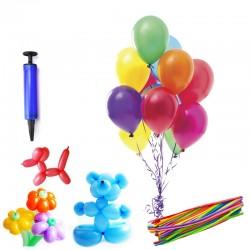 Set 16 baloane modelaj cu pompa de umflat, sferice si tubulare, multicolore