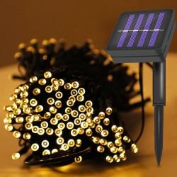 Instalatie solara decorativa, 100 LED-uri, alb cald, 2 moduri iluminare, lungime totala 11.4 m
