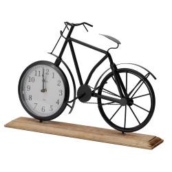 Ceasa de masa metalic, forma bicicleta, suport de lemn, dimensiune 42x7.5x28.5 cm