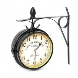 Ceas de perete New York Grand Central, 2 fete, metalic, diametru 19.5 cm, stil retro