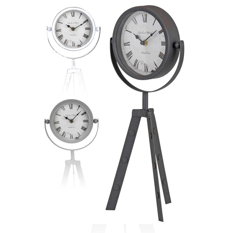 Ceas decorativ de masa, metalic, model vintage, diametru 15 cm