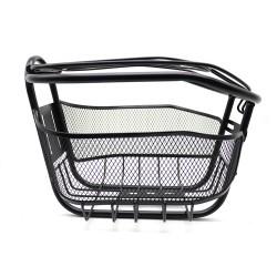 Cos pentru bicicleta, cu capac, metalic, montare frontala, 28x21x19 cm, negru