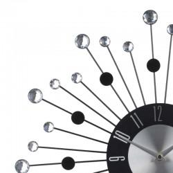 Ceas de perete Glamour, diametru 42 cm, pietre decorative, argintiu