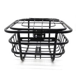 Cos bicicleta, metalic, montare in partea frontala, capac, 30x23x25 cm, negru