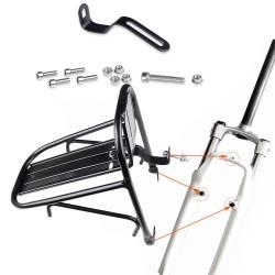 Portbagaj bicicleta, montare pe furca, aluminiu, negru