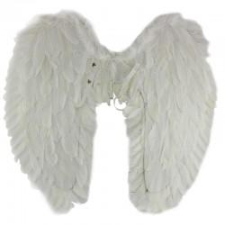 Aripi de inger din pene, 65 cm, costum carnaval, accesoriu sedinta foto, alb