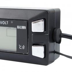 Termometru auto digital, ecran LCD, afisaj ora, temperatura interioara/exterioara