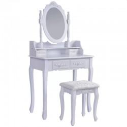 Set masa de toaleta pentru machiaj 75x40x143, 4 sertare, scaun tapitat, oglinda