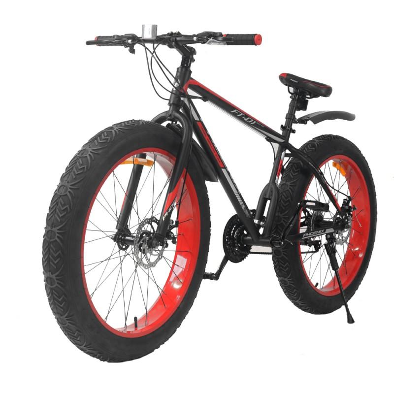 "Bicicleta Fat Bike 26 inch, cadru otel, 21 viteze, schimbator Shimano, roti 4"", Phoenix"