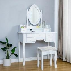 Set masa de toaleta pentru machiaj cu oglinda, 7 sertare, scaun tapitat, alb lucios