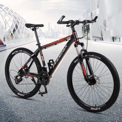 Bicicleta MTB de 26 inch, 21 viteze Shimano, jante aluminiu, frane disc hidraulice, Phoenix, negru-rosu