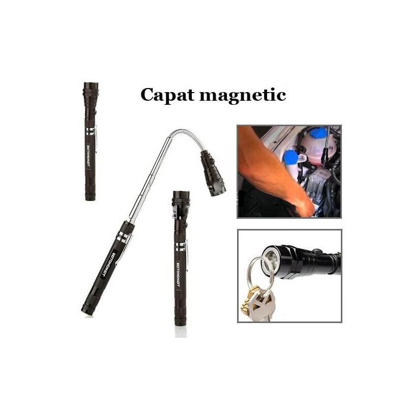 Lanterna telescopica cu capete magnetice