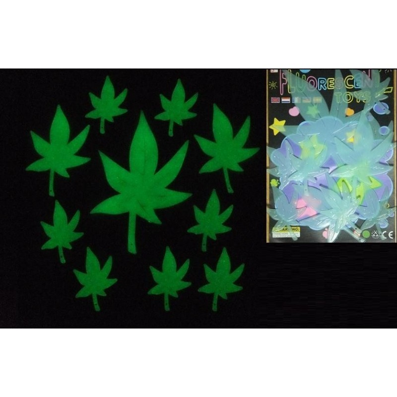 Figurine autoadezive fosforescente frunze Marijuana