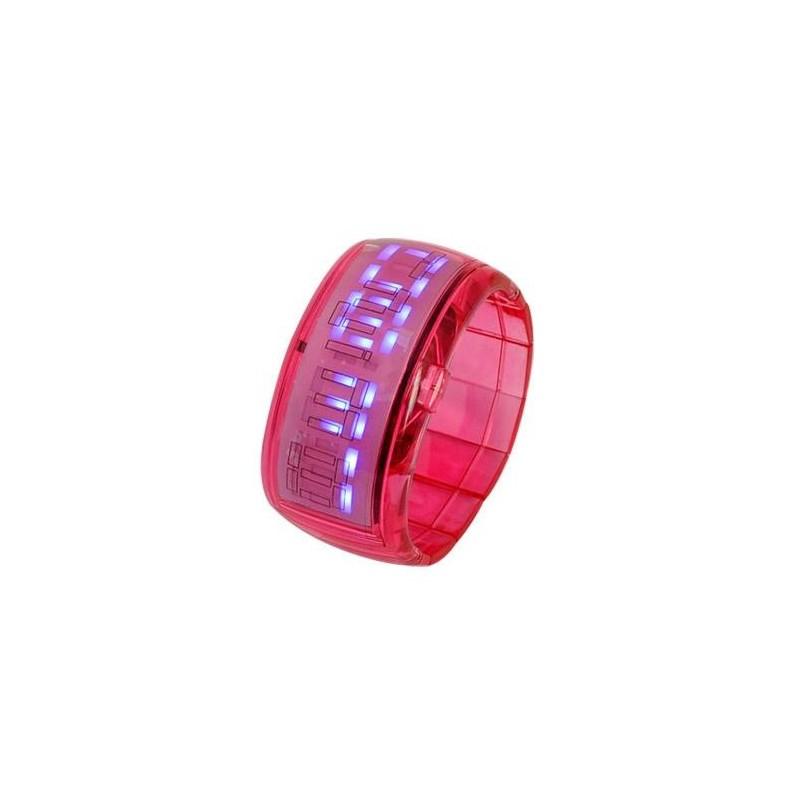 Ceas cu LED tip bratara elastica rosu